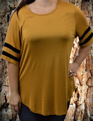 Mustard Double Stripe Tee