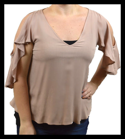 Taupe Cold Shoulder Ruffle Sleeve