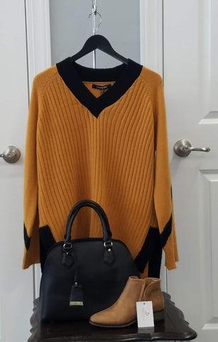 Mustard w Black Trim Sweater