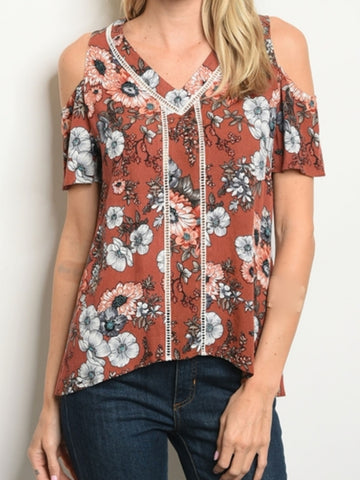 Cold Shoulder Earth Print Top