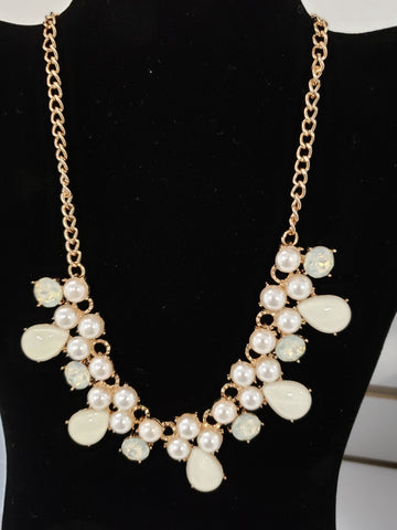 Natural and Pearl Teardrop Statement Necklace