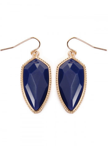 Navy Gem Cut Earrings