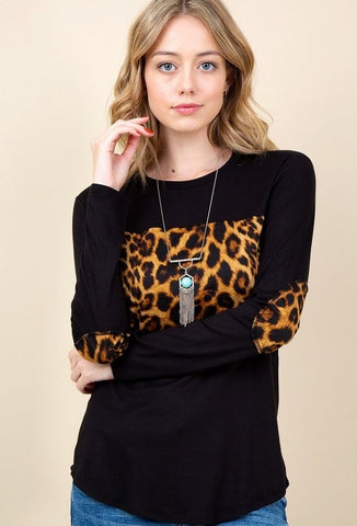 Patch Sleeve Leopard Print