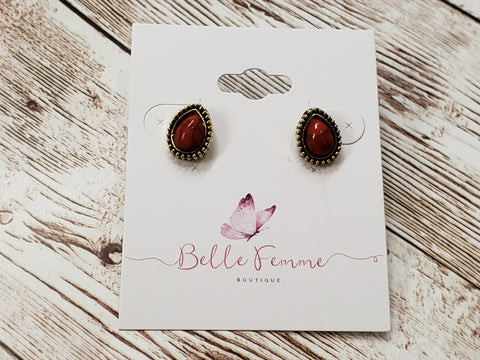 Chili Red Stone on Gold and Black / Teardrop Earrings