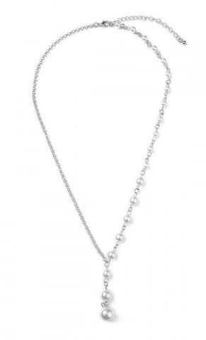 Silver Pearl Drop Necklace