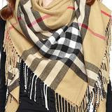 Tan N Black Plaid Blanket Scarf