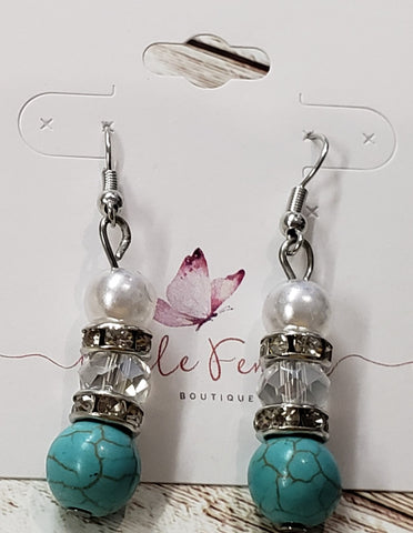 Turquoise and Crystal Earrings with Gold