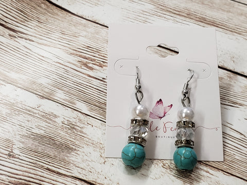 Turquoise and Crystal Earrings with Silver
