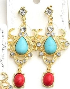 Turquoise Stone Crest Earrings