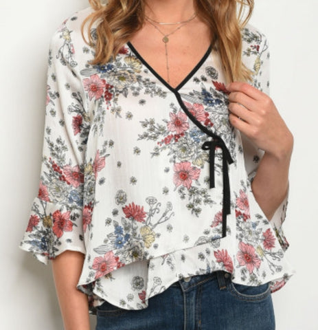 White Floral w Half Mock Wrap Top