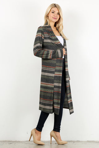 Plus Striped Knit Duster