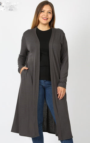 Longer Open Front Cardigan- Grey