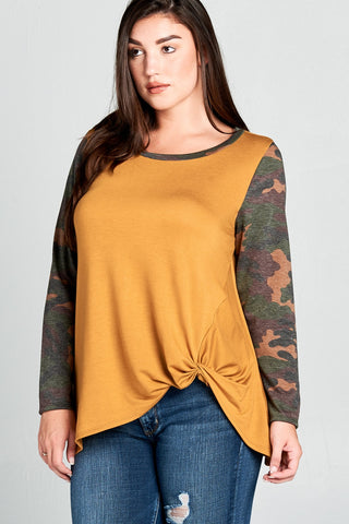 Mustard with Camo Print Top