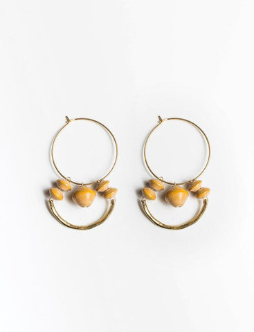 Beaded Arch Earrings/Mustard - 31 Bits