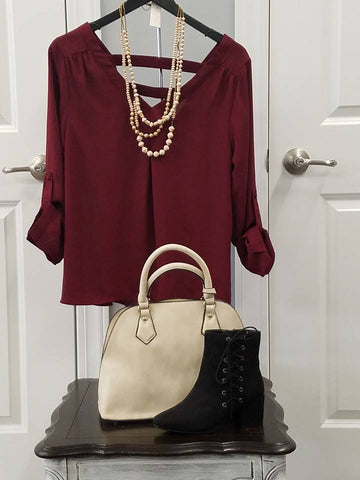 Burgundy Open cross Back Top