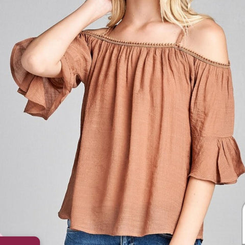 Rose Open Shoulder Top