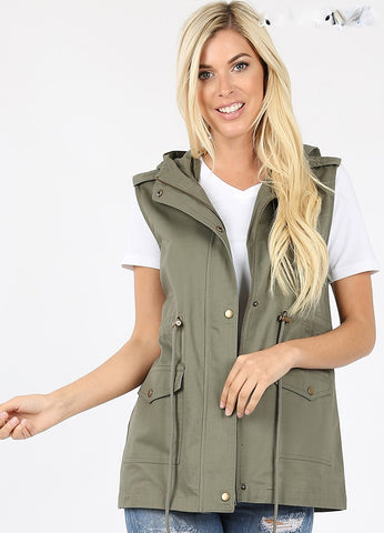 Anorak Vest in Light Olive