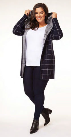 Window Pane Hooded Cardi