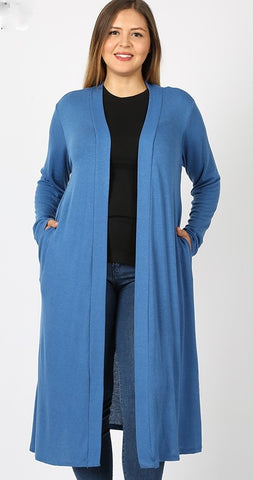 Longer Open Front Cardigan- Denim Blue