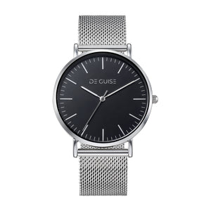 Mercury - Silver Polished Black Face De Guise Watch