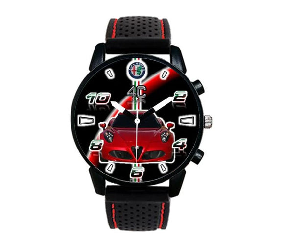 Alfa Romeo 4c 8c silicone band red stitching watch wristwatch orologio