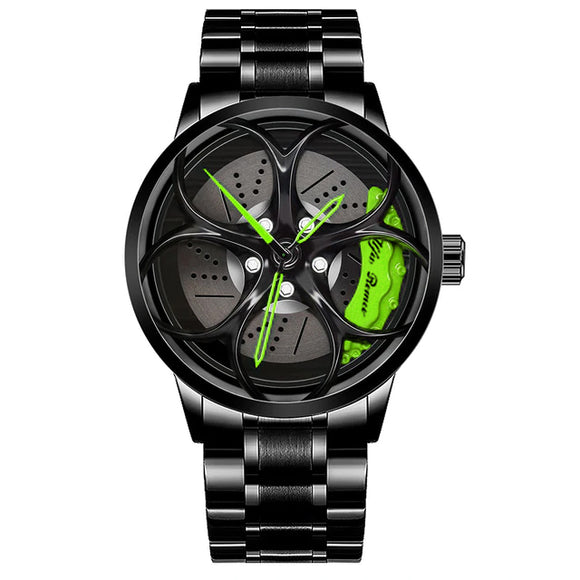 Alfa romeo giulia qv wheel 3d watch green calipers stainless steel quadrifoglio wristwatch orologio