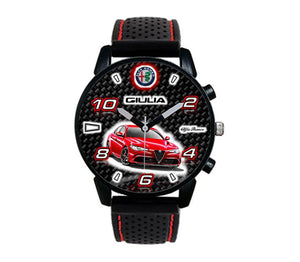 Alfa Romeo Giulia qv quadrifoglio verde logo meeting silicone band red stitching watch wristwatch orologio