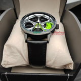 Alfa romeo watch 4C 8c Wheel Green Calipers leather band stelvio quadrifoglio wristwatch orologio green stitching