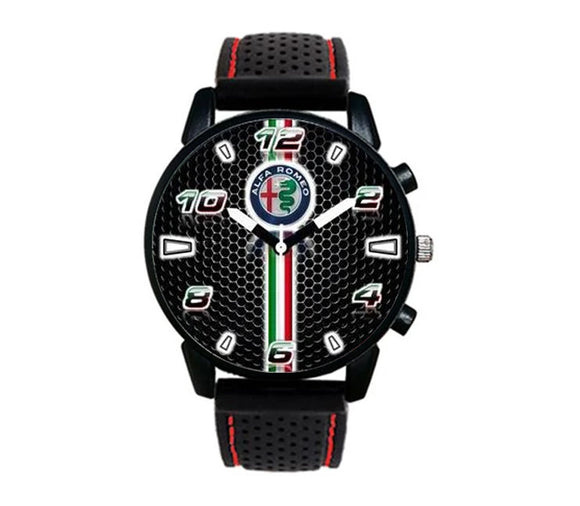 Alfa Romeo logo italian flag stripe casual design red stitching silicone band watch wristwatch