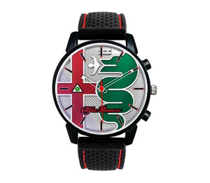 Alfa Romeo Giulia Stelvio New Logo Silicone band white stitching watch orologio wristwatch casual