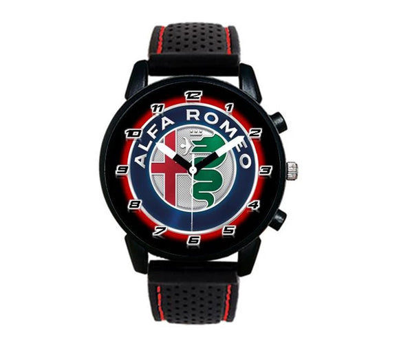 Alfa Romeo styled logo silicone red stitching watch