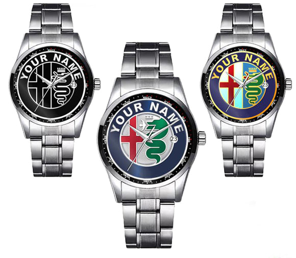 Alfa Romeo Logo Diamond Watch - PERSONALIZED (3 LOGO VARIANTS)