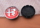Alfa Romeo 60mm Wheel Center Hub Cap Red Silver  Style logo/emblem/badge 145 147 155 156 159 166 mito giulia giulietta qv quadrifoglio stelvio
