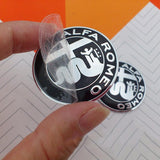 7X ALFA ROMEO LOGO STICKER EMBLEM WHEEL CAPS black hood wheels steering wheel