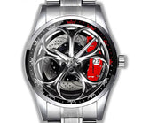 Alfa Romeo Giulia QV Silver Wheel Red Caliper Diamond Watch (5 caliper colors)