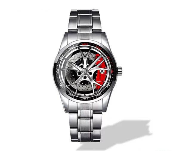 Alfa Romeo Giulia QV Silver Wheel Diamond Watch (5 caliper colors)