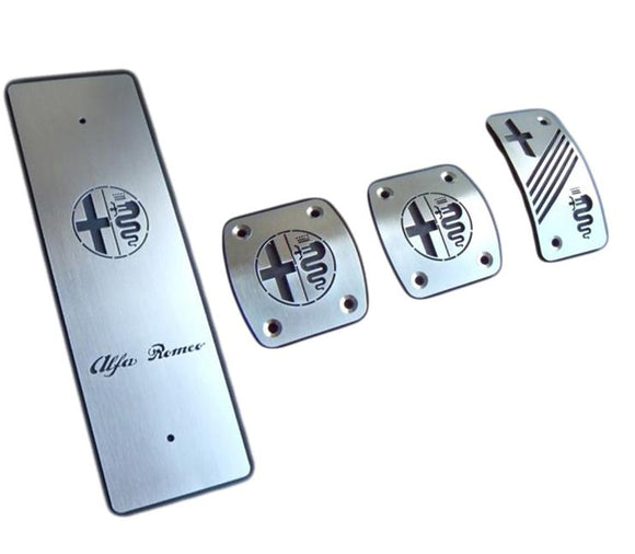 Improve visual and driving experience with set of new stainless steel pedals for your Alfa Romeo. Made of high quality stainless steel, precisely cutted by laser.  Product specifications: Material: Stainless steel Easy instalation  Package includes:  Pedals + necessary hardware