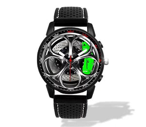 Alfa Romeo Giulia QV Wheel Green Calipers Silicone band watch Silver V2
