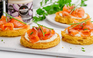 Keto toast with smoked salmon and garlic mayonnaise