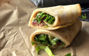 Crispy Bacon, Avocado, Lettuce and Mayonnaise Gluten Free Cassava Wraps