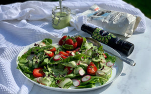 Spinach, Cucumber & Strawberry Salad, with a Creamy Collagen Dressing