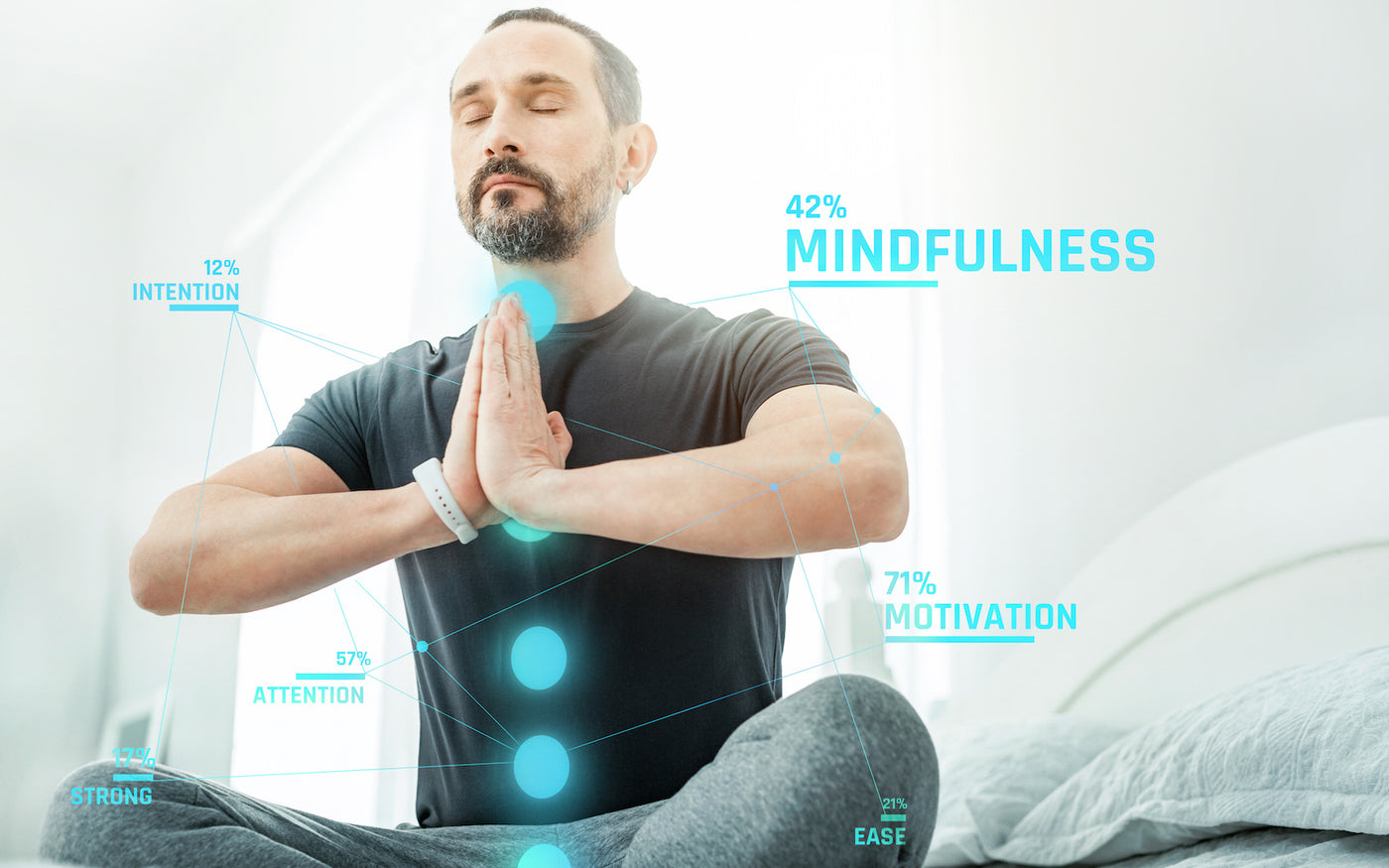 biohacker: Man performing meditation
