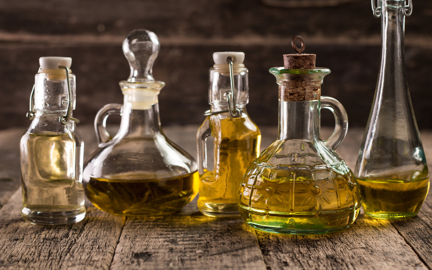 glass bottles of oils