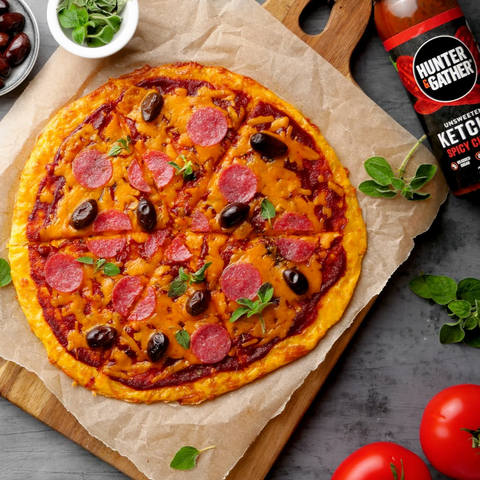 Keto Pizza with Unsweetened Chipotle Ketchup