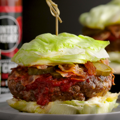Keto grass fed beef burgers with Hunter & Gather ketchup and avocado oil mayonnaise