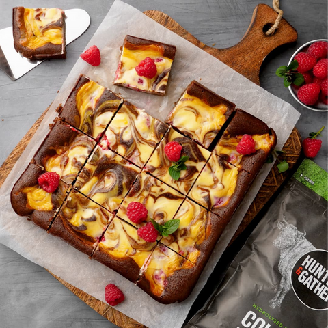 Chocolate raspberry cheesecake brownies with added collagen peptides
