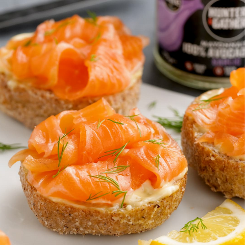 Keto grain free bread rolls with wild caught smoked salmon and avocado oil mayonnaise