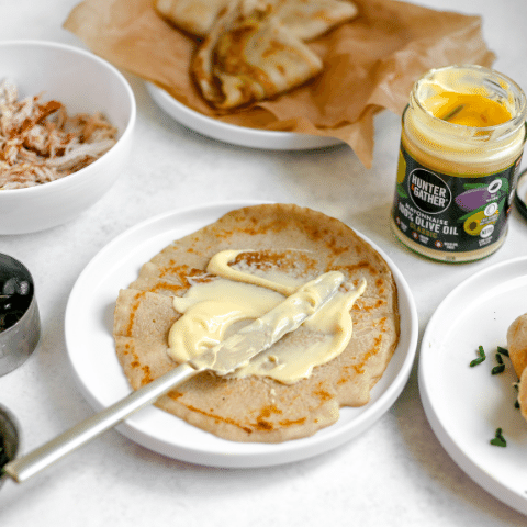 Chicken cassava wraps with olive oil mayonnaise