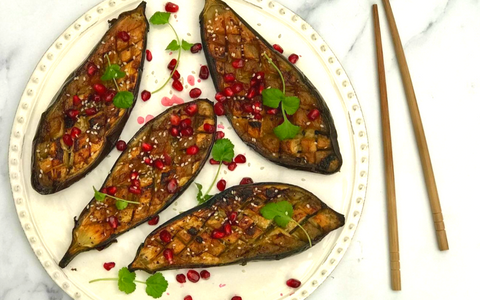 glazed aubergine with avocado oil