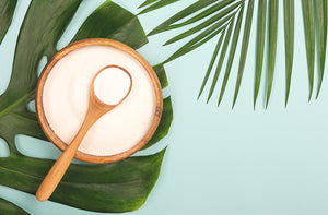 Palm leaves and bovine protein shake